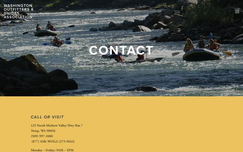 Screenshot of Contact Page woga.org - Contact Us — Washington Outfitters & Guides Association - captured Jan. 27, 2018