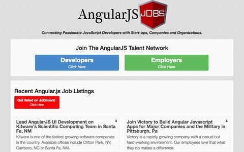 Screenshot of Home Page angularjobs.com - AngularJS Job Exclusives + Unparalleled Access to AngularJS & JavaScript Developers   AngularJobs.com - captured Jan. 26, 2015