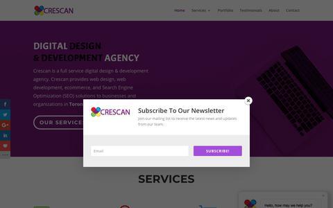 Screenshot of Home Page crescan.com - Digital design & development agency in Toronto | Crescan Digital Solutions - captured Sept. 28, 2018