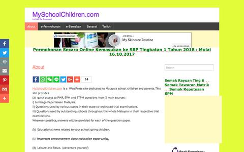 Screenshot of About Page myschoolchildren.com - About | MySchoolChildren.com - captured Oct. 31, 2017