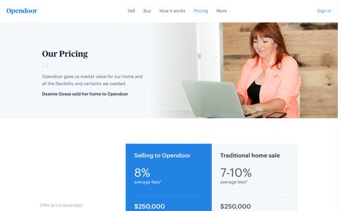 Screenshot of Pricing Page opendoor.com - Opendoor | Our Pricing & Fees - captured June 20, 2017