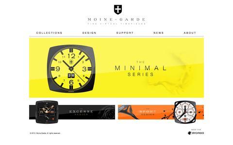 Screenshot of Home Page moine-garde.com - Moine-Garde - Fine Virtual Timepieces - captured Sept. 30, 2014