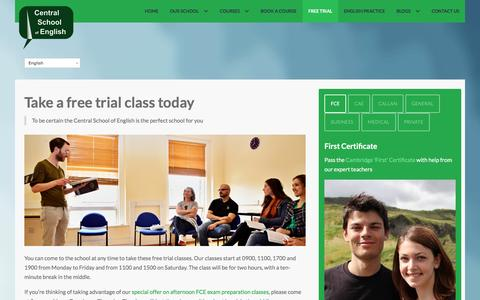 Screenshot of Trial Page centralschool.ie - Learn English in Dublin - Free Trial | Central School - captured Nov. 1, 2016