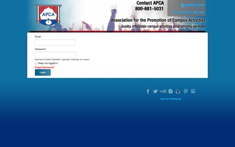 Screenshot of Login Page apca.com - Login | APCA - captured Nov. 2, 2014