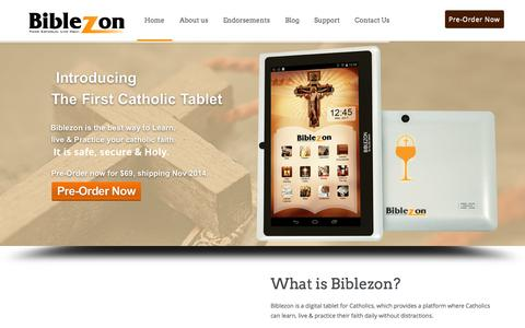 Screenshot of Home Page biblezon.com - biblezon - captured Oct. 5, 2014