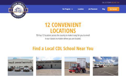 Screenshot of Locations Page drivebigtrucks.com - Local Truck Driving Schools - View All Campuses | TDI - captured Nov. 14, 2017