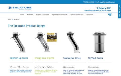 Screenshot of Products Page solatube.co.uk - Daylighting Systems | Solatube UK - captured Jan. 19, 2018