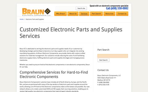 Screenshot of Services Page braunec.com - Electronic Parts and Supplies | Braun EC – Quality Electronic Components - captured Oct. 5, 2014