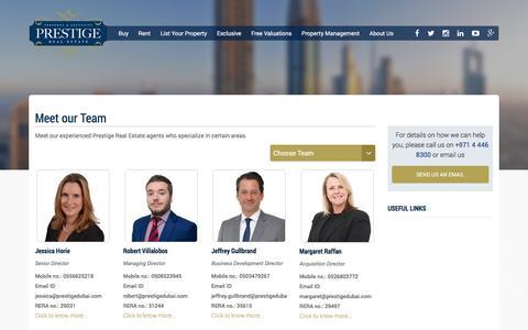 Screenshot of Team Page prestigedubai.com - Real Estate Agency Dubai-UAE/Buy-Sell-Rent Apartments-Villas - captured Nov. 11, 2016