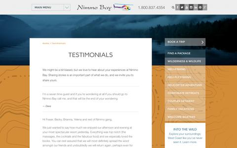Screenshot of Testimonials Page nimmobay.com - Testimonials - Travel Accommodations All Inclusive Resort British Columbia, Canada - captured Oct. 26, 2014
