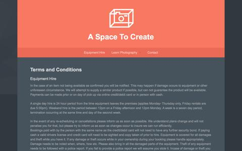 Screenshot of Terms Page aspacetocreate.com.au - Terms & Conditions - A Space To Create - captured July 13, 2016