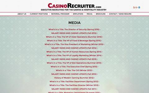 Screenshot of Press Page casinorecruiter.com - Media Archive ~ Casino Recruiter - captured Oct. 27, 2016