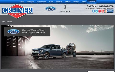 Screenshot of About Page greinerford.com - About Greiner Ford Lincoln a Casper WY dealership - captured Oct. 3, 2014