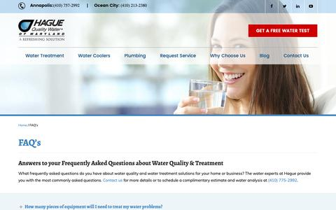 Screenshot of FAQ Page haguewaterofmd.com - Frequently Asked Questions | Hague Quality Water of MD - captured Nov. 9, 2018