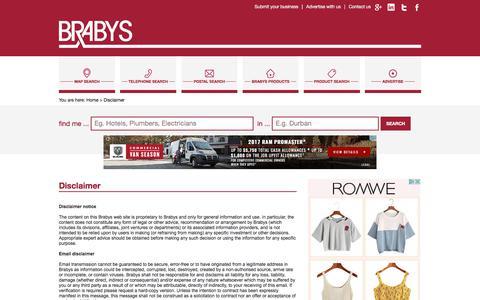Screenshot of Terms Page brabys.com - Disclaimer - captured June 20, 2017