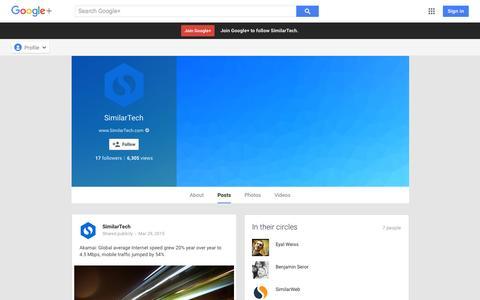 Screenshot of Google Plus Page google.com - SimilarTech - Google+ - captured Nov. 11, 2015