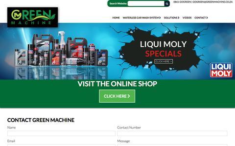 Screenshot of Contact Page greenmachine.co.za - Contact Green Machine - 0861 GOGREEN (464 7336) - captured Oct. 6, 2016