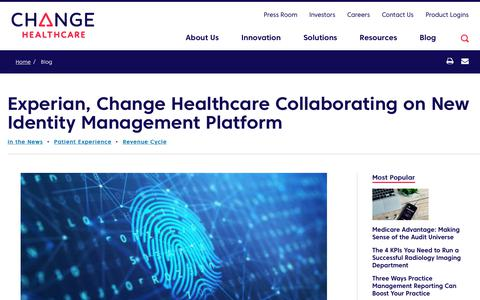 Screenshot of Team Page changehealthcare.com - Experian, Change Healthcare Collaborating on New Identity Management Platform | Change Healthcare - captured Feb. 20, 2020