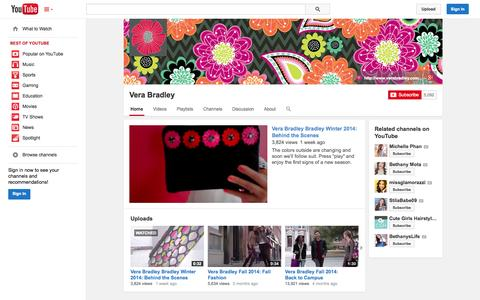 Screenshot of YouTube Page youtube.com - Vera Bradley  - YouTube - captured Oct. 26, 2014