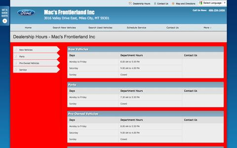 Screenshot of Hours Page macsford.com - Dealership Hours at Mac's Frontierland Inc - Your Miles City, Montana Ford dealer - captured June 21, 2016