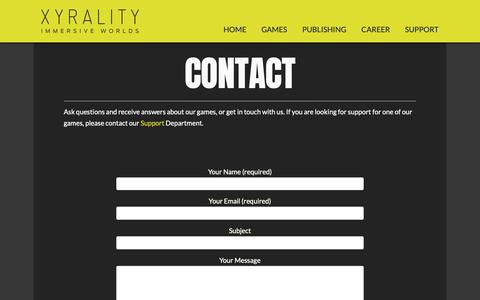 Screenshot of Contact Page xyrality.com - Contact | XYRALITY - captured Oct. 1, 2018