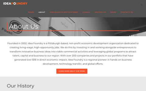 Screenshot of About Page ideafoundry.org - About Us - Idea Foundry - captured Sept. 12, 2018
