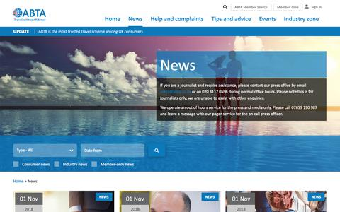 Screenshot of Press Page abta.com - Travel Industry News | Holiday and Tourism News | Page 1 | ABTA - captured Nov. 6, 2018