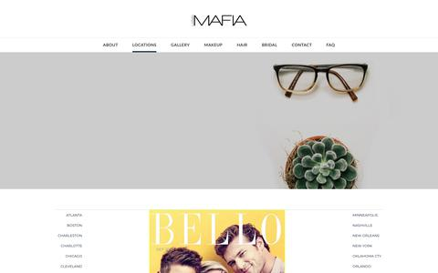 Screenshot of About Page Locations Page labellamafiabeaute.com - Hair + Makeup Agency Locations - La'Bella MAFIA BEAUTE AGENCY - captured Oct. 23, 2018