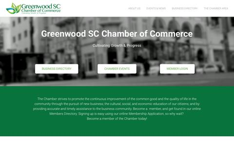 Screenshot of Home Page greenwoodscchamber.org - Greenwood SC Chamber of Commerce - Greenwood SC Chamber of Commerce - captured Dec. 16, 2018