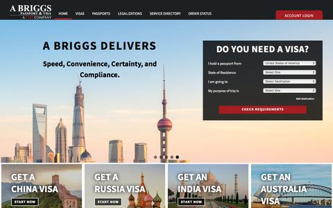 Screenshot of Home Page abriggs.com - Travel Visas and US Passports for Business Travel and Tourism | Fast, Easy, Secure - captured Sept. 22, 2018