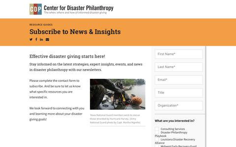 Screenshot of Signup Page disasterphilanthropy.org - Subscribe to News & Insights - Center for Disaster Philanthropy - captured Nov. 29, 2017