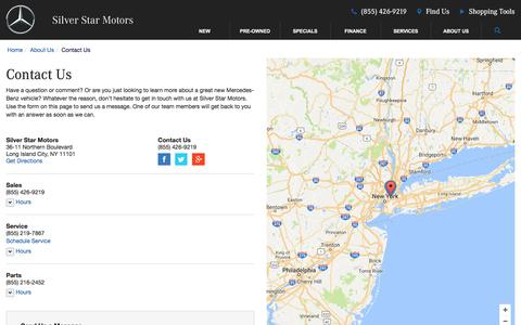 Screenshot of Contact Page Maps & Directions Page silverstarny.com - Contact Silver Star Motors in Long Island City New York - captured Dec. 1, 2016