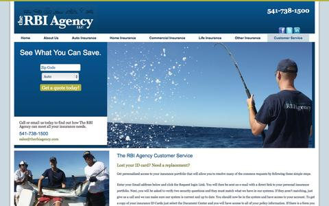 Screenshot of Support Page therbiagency.com - Customer Service | The RBI Agency - captured Oct. 9, 2014