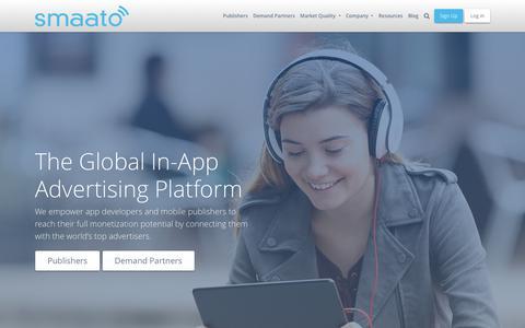 Screenshot of Home Page smaato.com - Mobile Advertising and App Monetization Platform | Smaato - captured Nov. 21, 2019