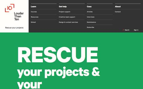 Screenshot of Home Page louderthanten.com - Rescue your projects & your projects' people.   Louder Than Ten - captured Feb. 2, 2016