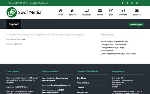Screenshot of Support Page swofmedia.co.uk - Support - Swof Media - captured Oct. 7, 2014