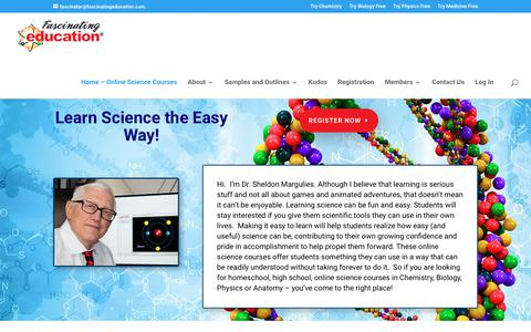 Screenshot of Home Page fascinatingeducation.com - Fascinating Education | Learn Science the Easy Way! - captured Aug. 10, 2018
