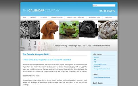 Screenshot of FAQ Page thecalendarcompany.org - FAQ's | The Calendar Company | Calendar Printing | - captured Oct. 7, 2014
