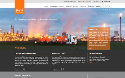 Screenshot of Home Page elandcables.com - Cable & Wire Supplier – Power, Control, Railway | Eland Cables - captured Oct. 1, 2015