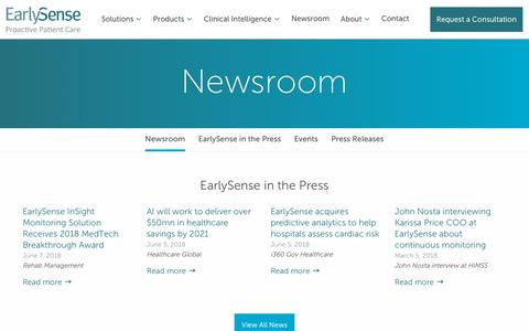 Screenshot of Press Page earlysense.com - Newsroom - Early Sense - captured March 21, 2019