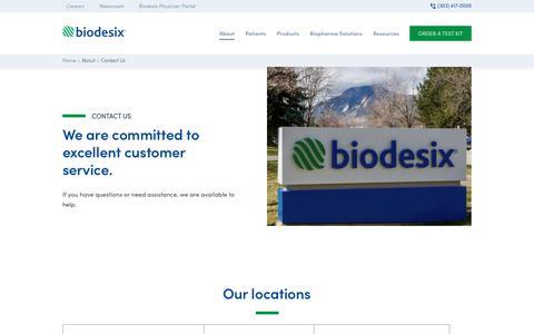 Screenshot of Contact Page biodesix.com - Contact - Biodesix - captured Sept. 22, 2019