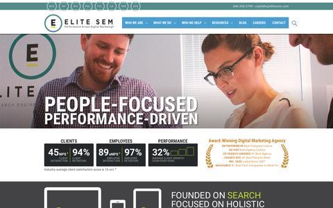 Screenshot of Home Page elitesem.com - Elite SEM   Digital Marketing Agency   SEM, SEO, CRO, Display, Mobile - captured Nov. 20, 2015