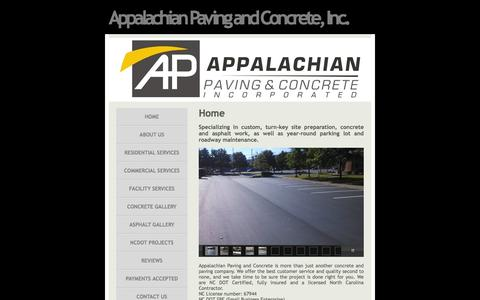 Screenshot of Home Page appalachianpaving.net - Appalachian Paving and Concrete, Inc. - Home - captured Feb. 6, 2016
