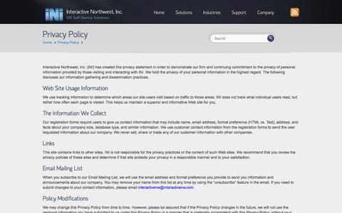 Screenshot of Privacy Page interactivenw.com - Privacy Policy - Interactive Northwest, Inc. | Interactive Northwest, Inc. - captured Oct. 6, 2014