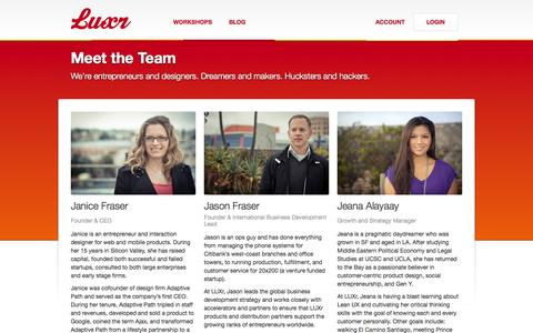 Screenshot of Team Page luxr.co captured Oct. 22, 2014
