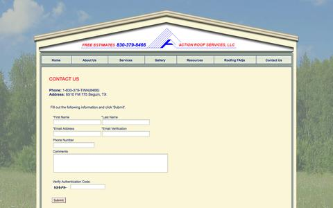 Screenshot of Contact Page actionroofservices.com - A Action Roof Services roofing roofers tile shingle metal roofs sheet metal fabrication Seguin Texas New Braunfels Schertz TX - captured Oct. 4, 2014