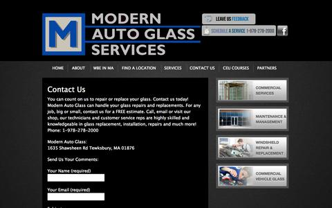 Screenshot of Contact Page modernautoglass.com - Contact Us - captured Oct. 9, 2014