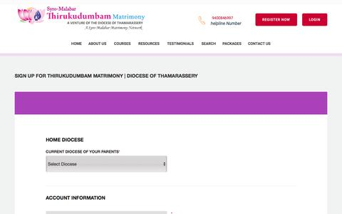 Screenshot of Signup Page thirukudumbammatrimony.com - Thirukudumbam Matrimony | Diocese of Thamarassery- Register in Syro-Malabar Matrimony - Catholic Matrimony, Christian Matrimony, Kerala Catholic Matrimonial - captured Jan. 31, 2018