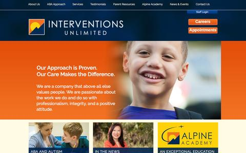 Screenshot of Home Page interventionsunlimited.com - Interventions Unlimited | High Quality ABA Therapy for Individuals with autism, effective autism treatment, autism therapy, learning disability | Orlando, Oviedo, Florida 32765 - captured Feb. 11, 2016