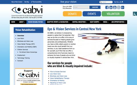 Screenshot of Services Page cabvi.org - Eye & Vision Services in Central New York | CABVI - captured July 20, 2017
